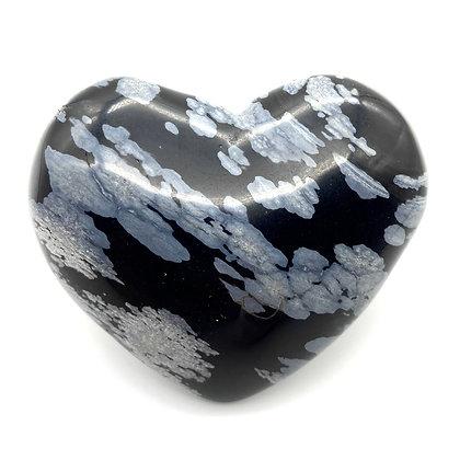 Snowflake Obsidian Heart(6.5cm approx)