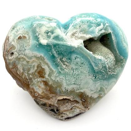 Caribbean Calcite /Blue Aragonite Heart XLarge (A Grade - 10cm approx)