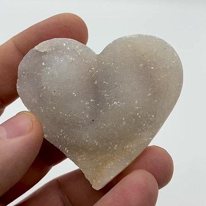 White Druzy Chalcedony Heart (6cm approx)