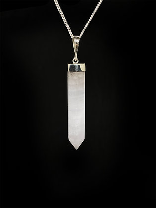 925 Sterling Silver Mangano-Calcite Crystal Pendant (No chain included)