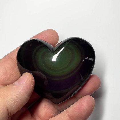 Rainbow Obsidian Heart - A grade