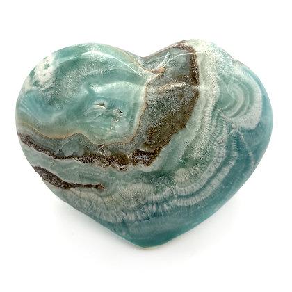 Caribbean Calcite /Blue Aragonite Heart Large (A Grade - 8.5cm approx)