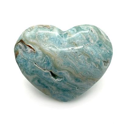 Caribbean Calcite /Blue Aragonite Heart Medium (A Grade - 7cm approx)