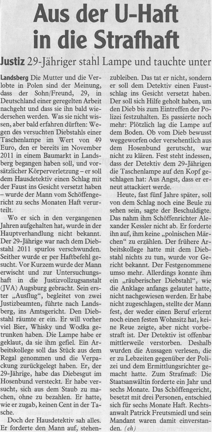 Landsberger Tagblatt, Mai 2016