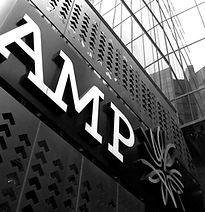 AMP logo on building
