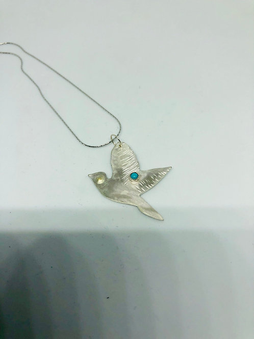 Sterling Silver Bird Pendant with Turquoise