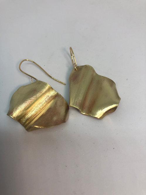 Brass Earrings Crushed & Folded