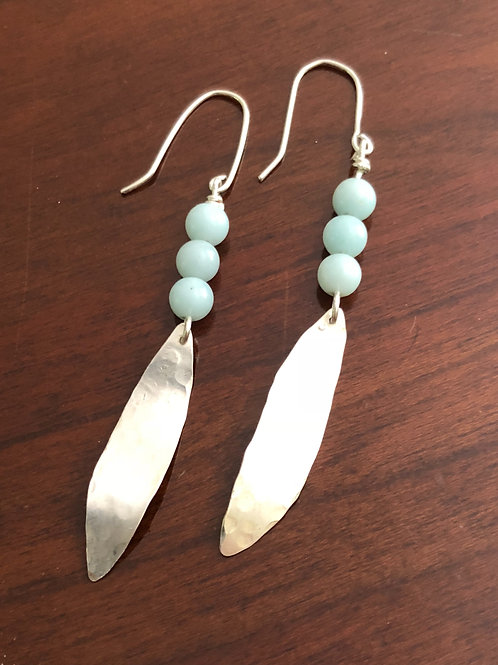 Sterling Silver Earrings with Aventurine Beads