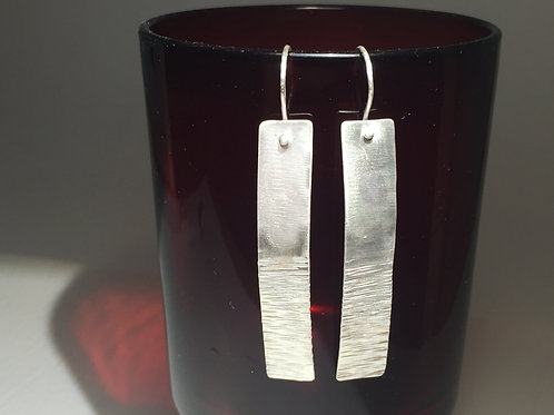 Sterling Silver Earrings, Boho, elongated, textured & domed