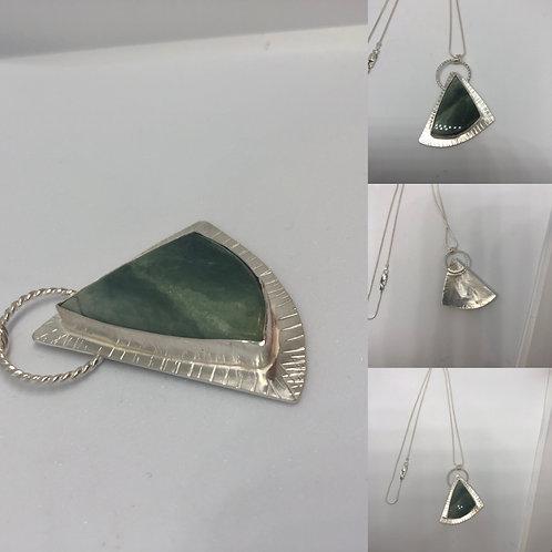 Sterling Silver Green Jasper Asymmetrical Pendant