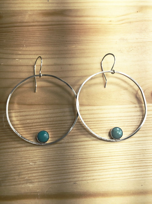 Sterling Silver Hoops with Turquoise Gemstones