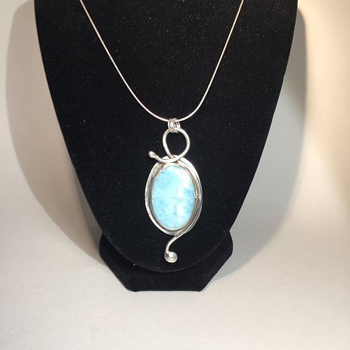 Sterling Silver Pendant with Larimar Gemstone