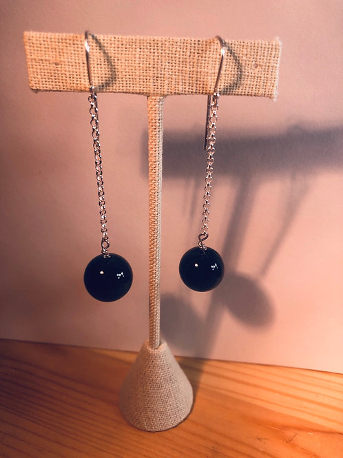 Long Earrings with Sterling Silver & Tigers Eye Beads