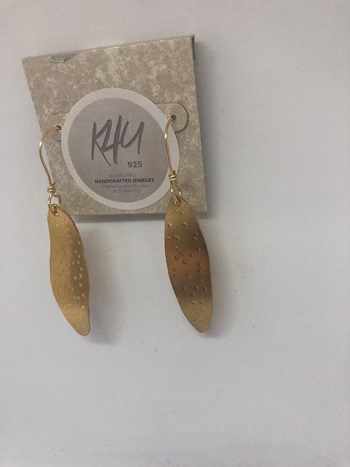 Brass Earrings, Leaf Shaped