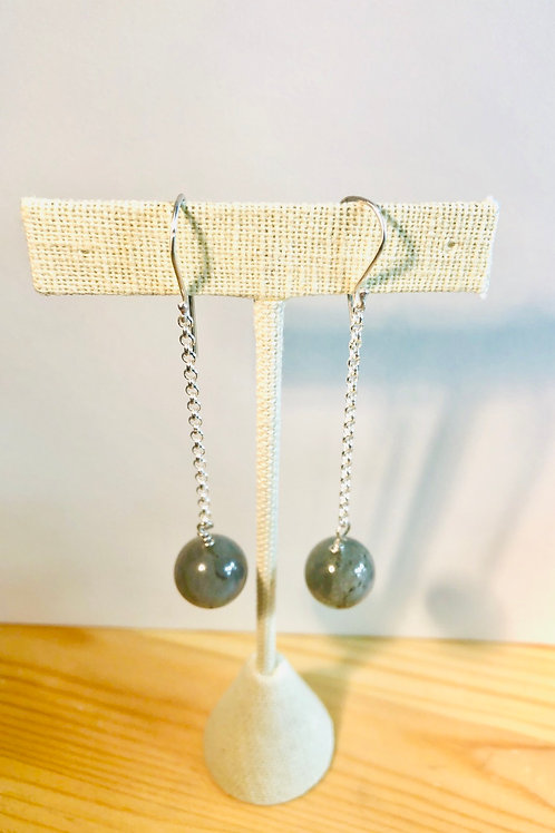 Long, shoulder duster earrings in sterling silver with Labradorite beads.