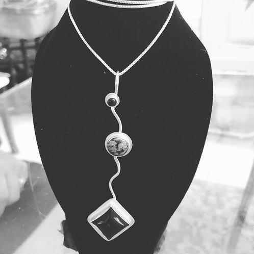 Triple Stone Sterling Silver Pendant