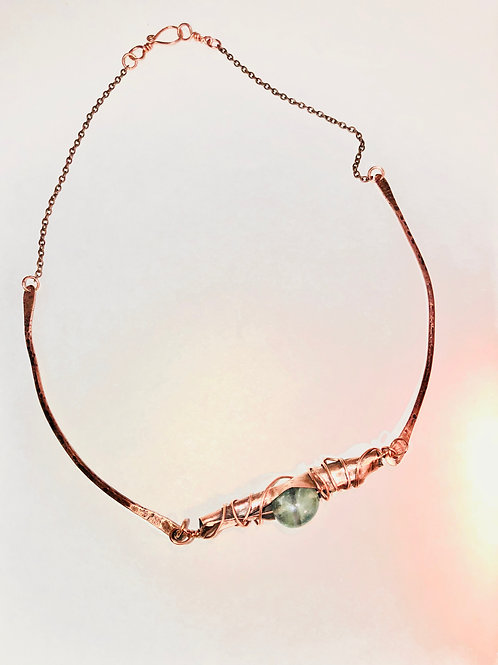 Copper Wire Wrapped Bead Pendant