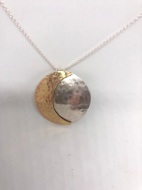 Sterling Silver & Brass Full & Crescent Moon