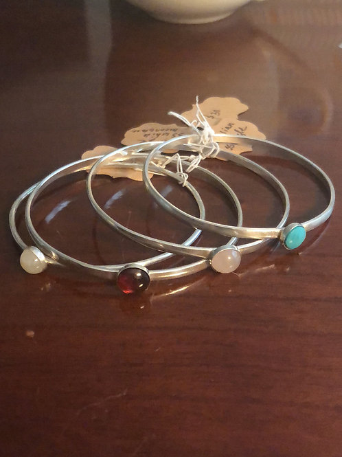 Sterling Silver Bangle Bracelets with Carnelian or White Rainbow Moonstone