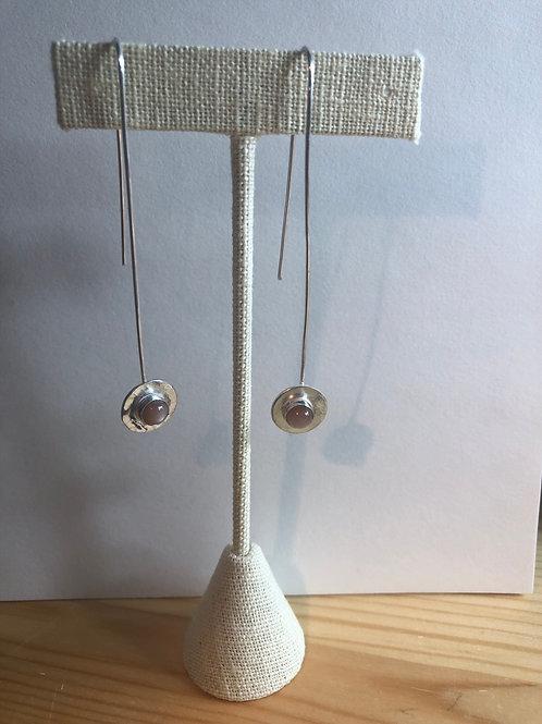 Long sterling silver earrings with peach moonstones
