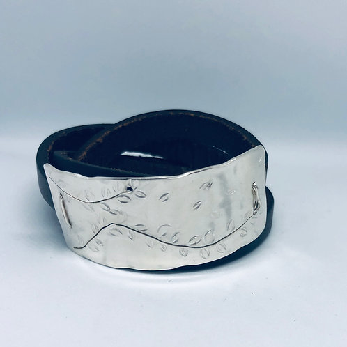 Sterling Silver & Leather Cuff Bracelet