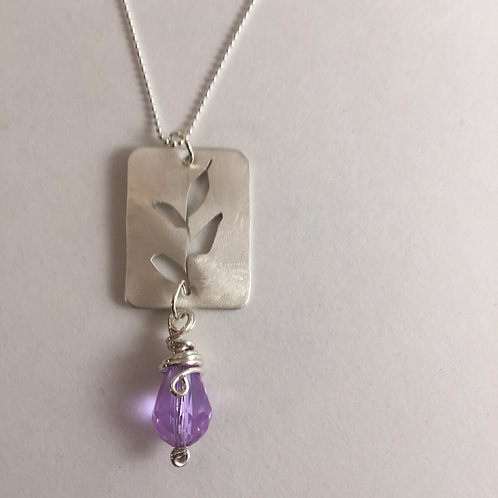 Sterling Silver Leaf Cutout with dangling Amethyst Briolette