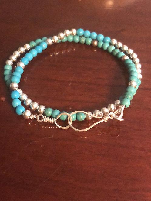 Turquoise & silver double strand bracelet