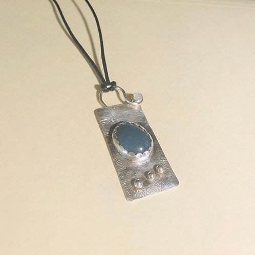 Aquamarine set in Sterling Silver Statement Pendant on Leather Cord