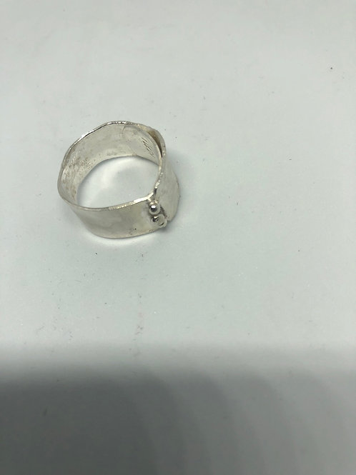 Silver Ring with balls, reticulation silver