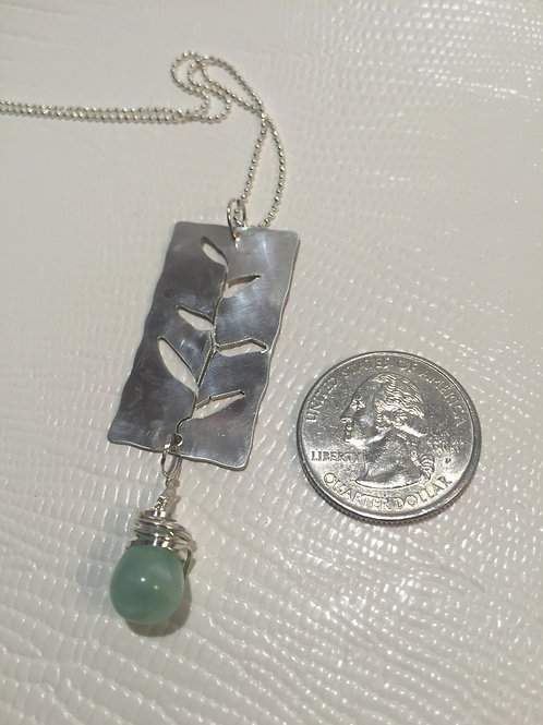 Sterling Silver Leaf Pendant with Aventurine bead.