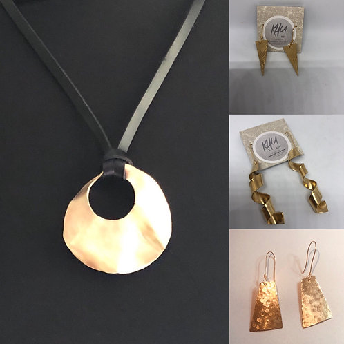 Brass Pendant on leather cord