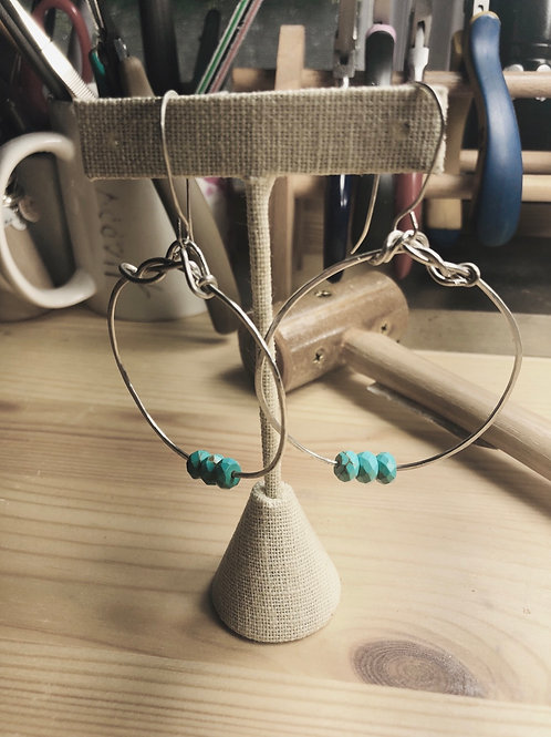 Sterling Silver Hoop Earrings with turquoise wooden beads