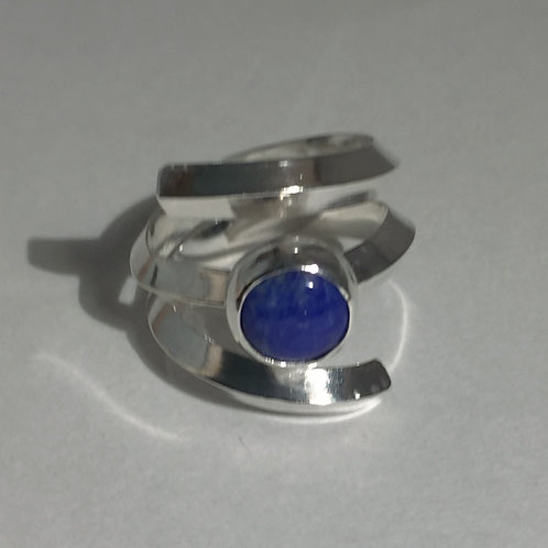 Sterling Silver Statement Ring with Lapis Lazuli