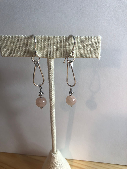 Sterling Silver dangling Earrings with peach moonstone beads
