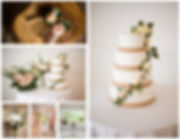 Selection of floral wedding decorations, Bouquets, chair ties, cake toppers