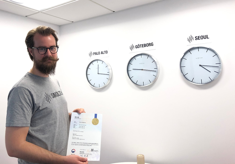 Research Engineer Rickard Andersson is proud of displaying Smoltek's 53rd granted patent