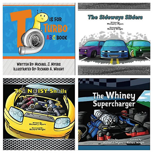 4 Book Bundle with T is for Turbo Board Book