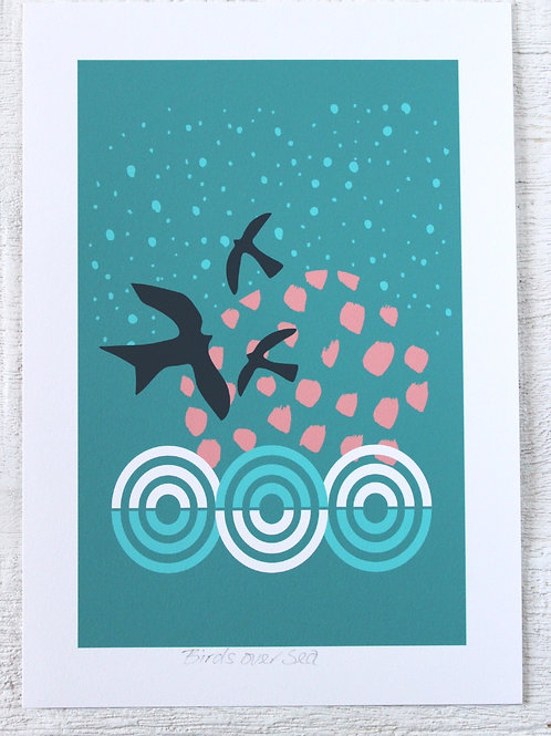 BIRDS OVER SEA PRINT
