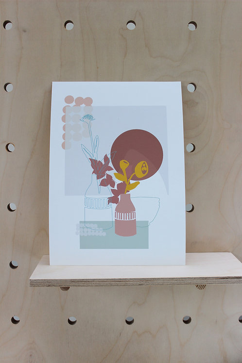 PALE TINT AUTUMN SEED HEADS PRINT