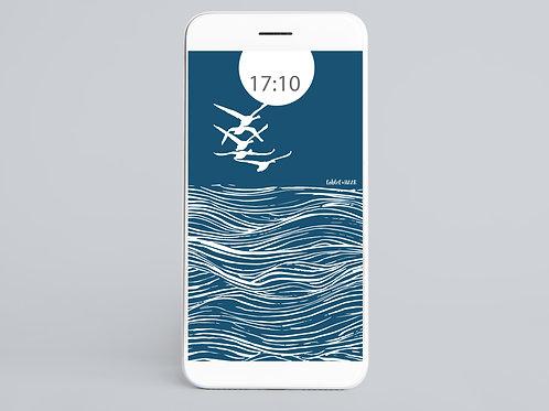 Blue & White Wedge of Swans Wallpaper