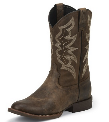 Justin Buster Distressed Brown Western Boot