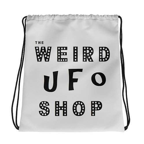Gray UFO Drawstring bag from The Weird UFO Shop