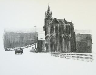'Thionville', 64 x 83 cm, houtskool, 200