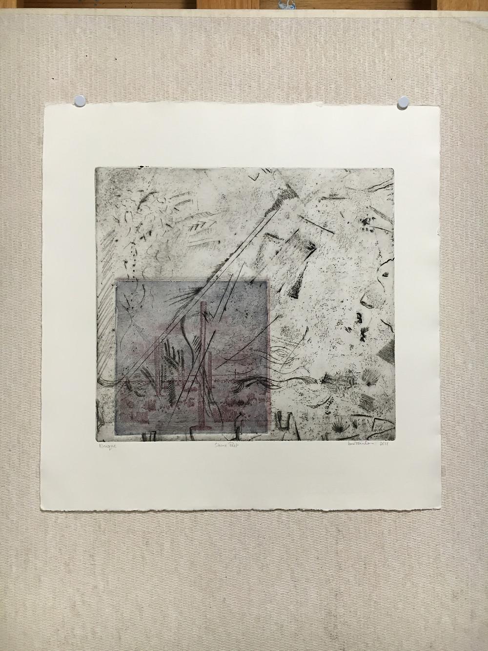 Storms Past, unique, 3 plate intaglio print.