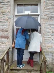 Trail goers braving the rain.