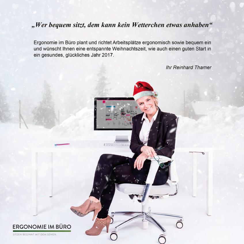 Weihnachtskarte Ergonomie im Büro