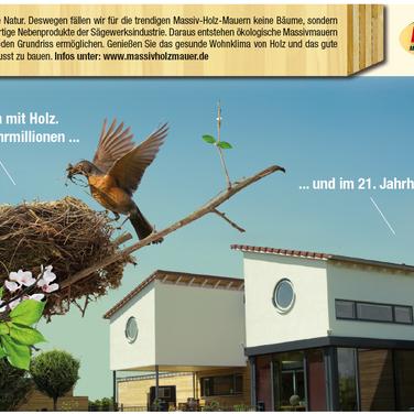 Nachhaltig bauen: Werbeanzeige für Massivholzmauer-Häuser