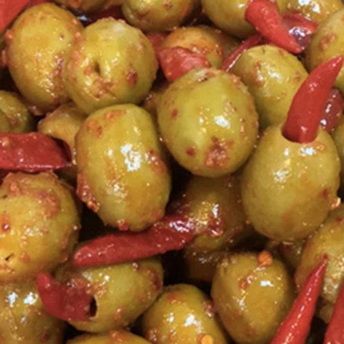 Red Hot Chilli Olives 200g