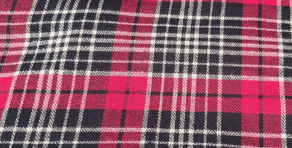 Plaid Red & Black Woven Cotton