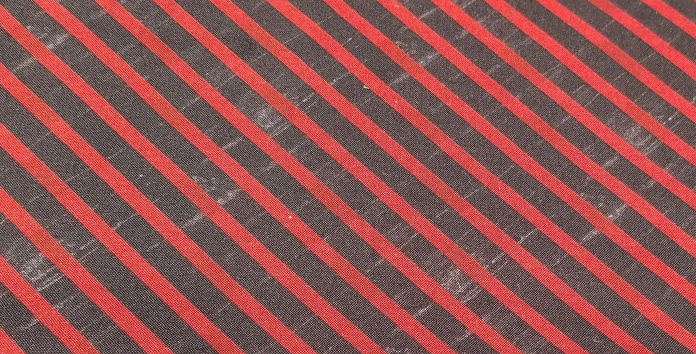 Black & Red Stripe Woven Cotton